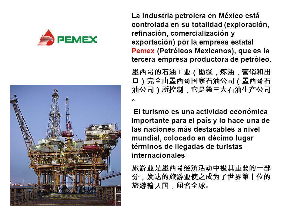 La industria petrolera en México está controlada en su totalidad (exploración, refinación, comercialización y exportación) por la empresa estatal Peme