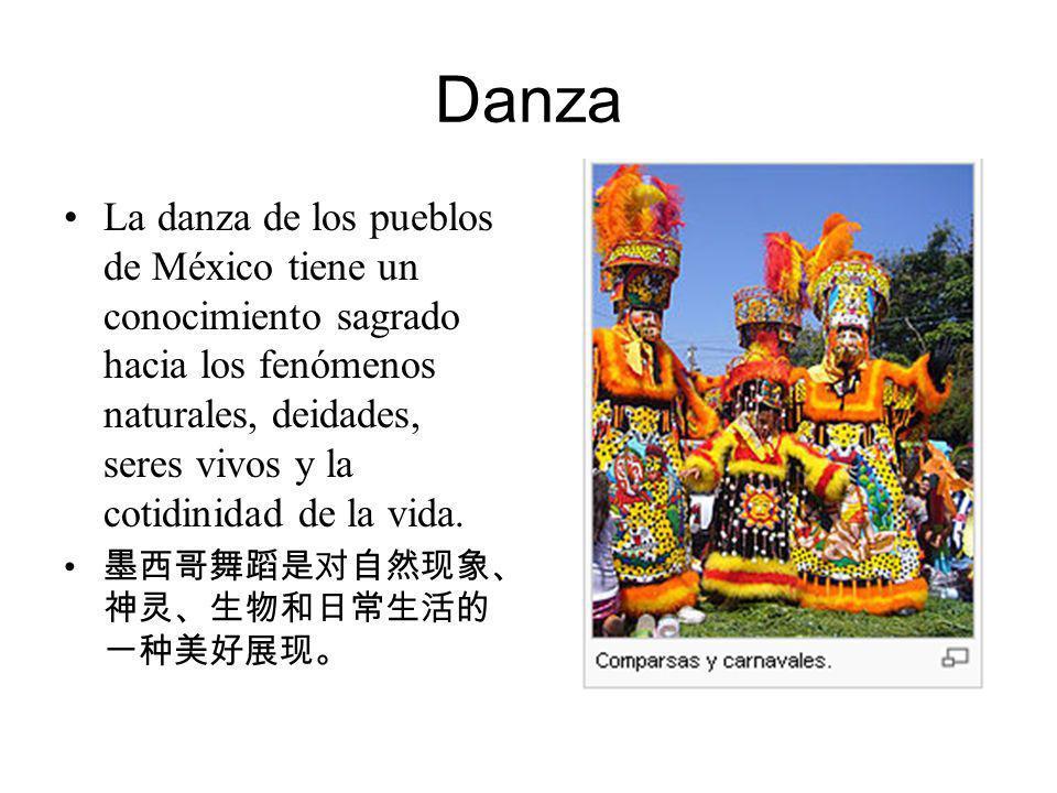Danza La danza de los pueblos de México tiene un conocimiento sagrado hacia los fenómenos naturales, deidades, seres vivos y la cotidinidad de la vida