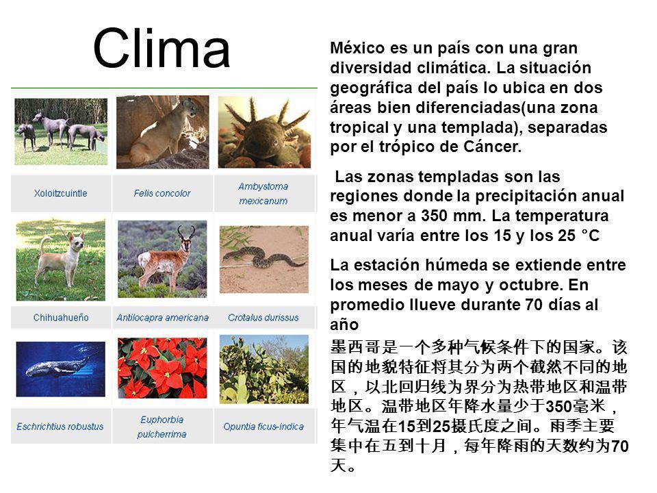 Clima México es un país con una gran diversidad climática. La situación geográfica del país lo ubica en dos áreas bien diferenciadas(una zona tropical