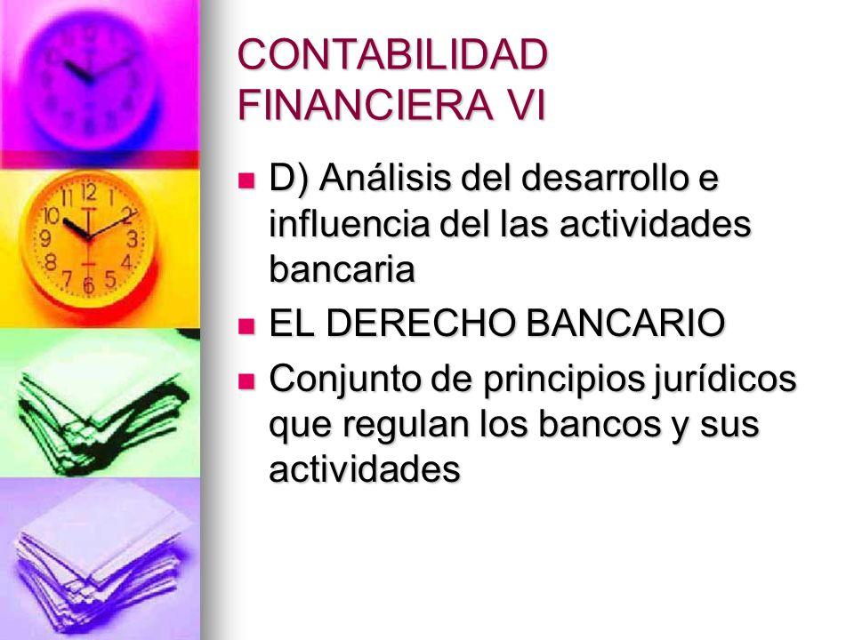CONTABILIDAD FINANCIERA VI D) Análisis del desarrollo e influencia del las actividades bancaria D) Análisis del desarrollo e influencia del las activi