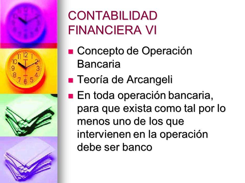 CONTABILIDAD FINANCIERA VI Concepto de Operación Bancaria Concepto de Operación Bancaria Teoría de Arcangeli Teoría de Arcangeli En toda operación ban