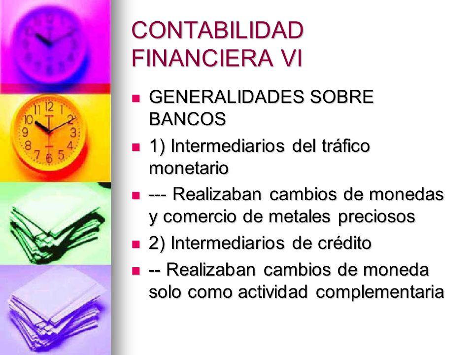 CONTABILIDAD FINANCIERA VI Un banco es una empresa constituida bajo la forma asociativa, cuya actividad se dirige a colectar capitales ociosos, dándoles colocación útil, facilitar las operaciones de pago y negociar con títulos- valores.