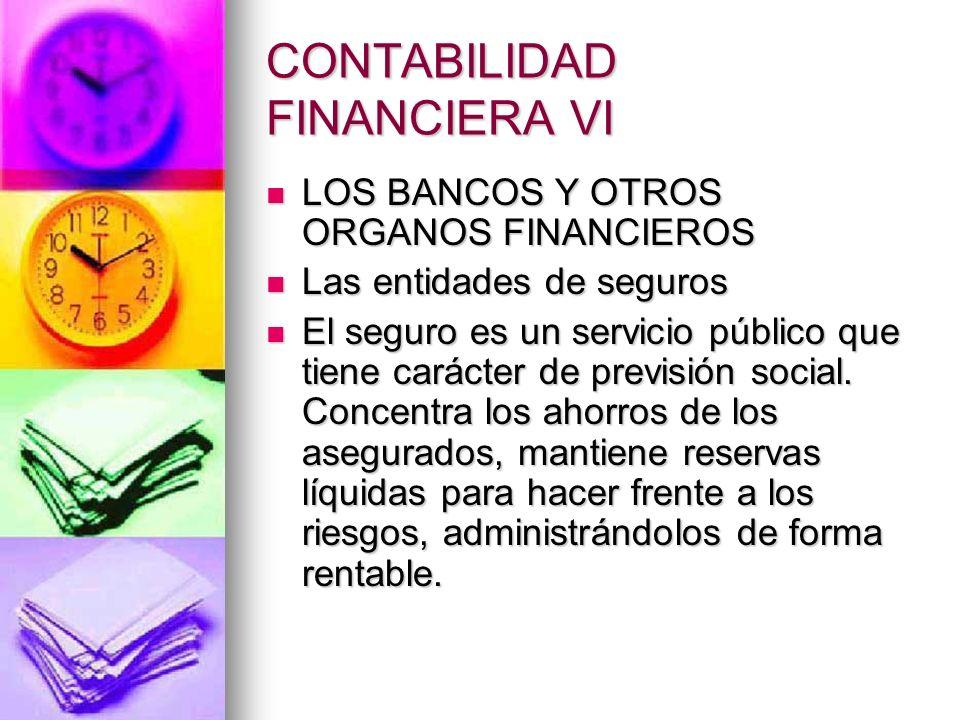 CONTABILIDAD FINANCIERA VI LOS BANCOS Y OTROS ORGANOS FINANCIEROS LOS BANCOS Y OTROS ORGANOS FINANCIEROS Las entidades de seguros Las entidades de seg