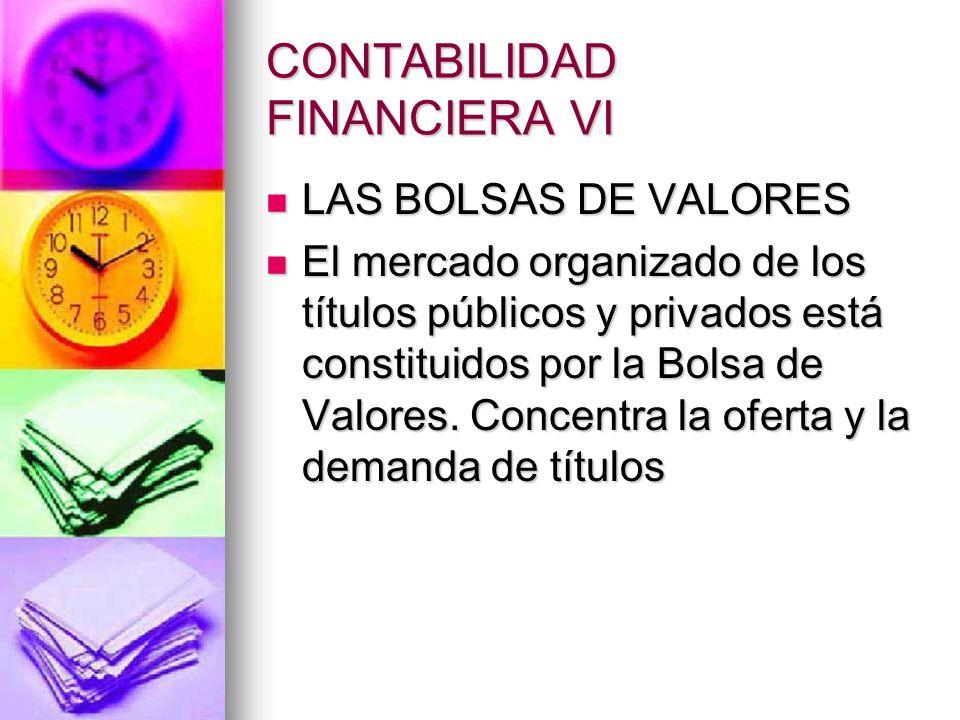 CONTABILIDAD FINANCIERA VI LAS BOLSAS DE VALORES LAS BOLSAS DE VALORES El mercado organizado de los títulos públicos y privados está constituidos por