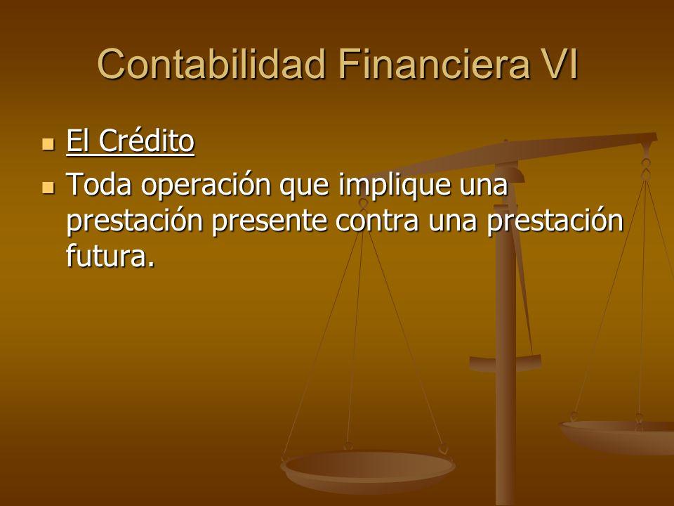 Contabilidad Financiera VI El Crédito El Crédito Toda operación que implique una prestación presente contra una prestación futura. Toda operación que