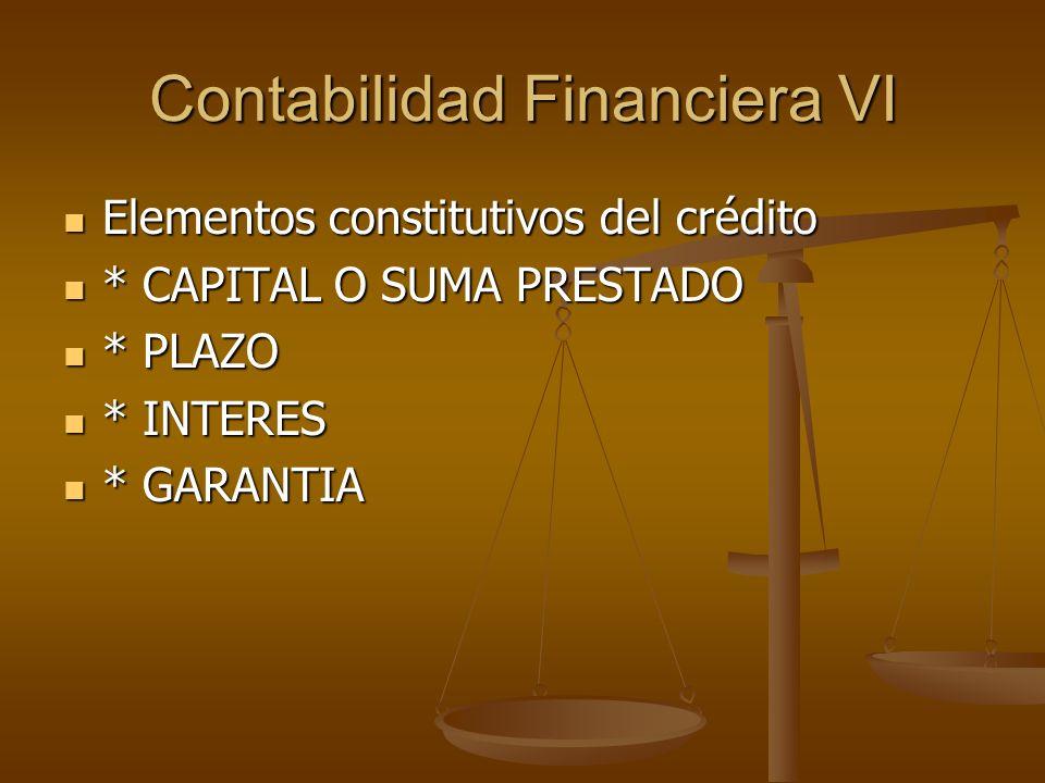 Contabilidad Financiera VI Elementos constitutivos del crédito Elementos constitutivos del crédito * CAPITAL O SUMA PRESTADO * CAPITAL O SUMA PRESTADO
