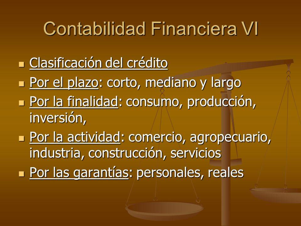 Contabilidad Financiera VI Clasificación del crédito Clasificación del crédito Por el plazo: corto, mediano y largo Por el plazo: corto, mediano y lar