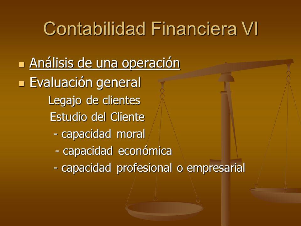 Contabilidad Financiera VI Análisis de una operación Análisis de una operación Evaluación general Evaluación general Legajo de clientes Estudio del Cl