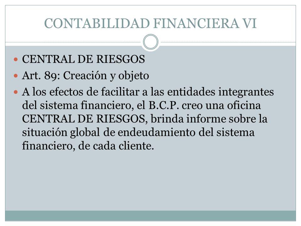 CONTABILIDAD FINANCIERA VI CENTRAL DE RIESGOS Art. 89: Creación y objeto A los efectos de facilitar a las entidades integrantes del sistema financiero