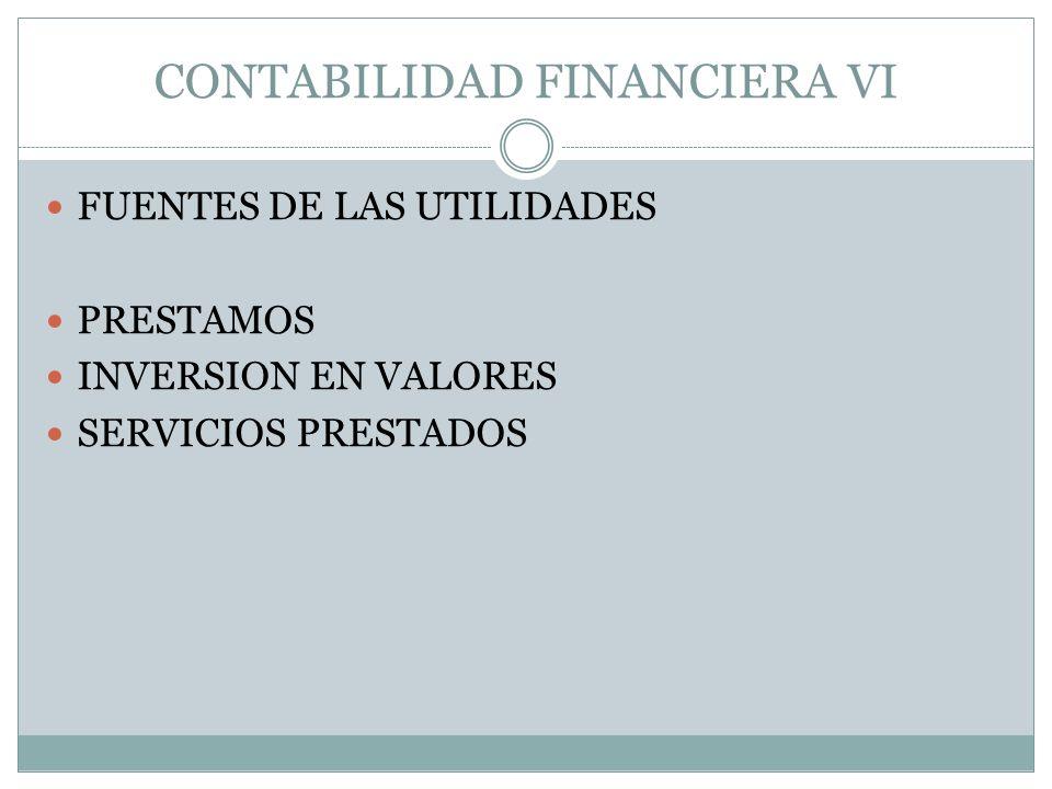 CONTABILIDAD FINANCIERA VI FUENTES DE LAS UTILIDADES PRESTAMOS INVERSION EN VALORES SERVICIOS PRESTADOS
