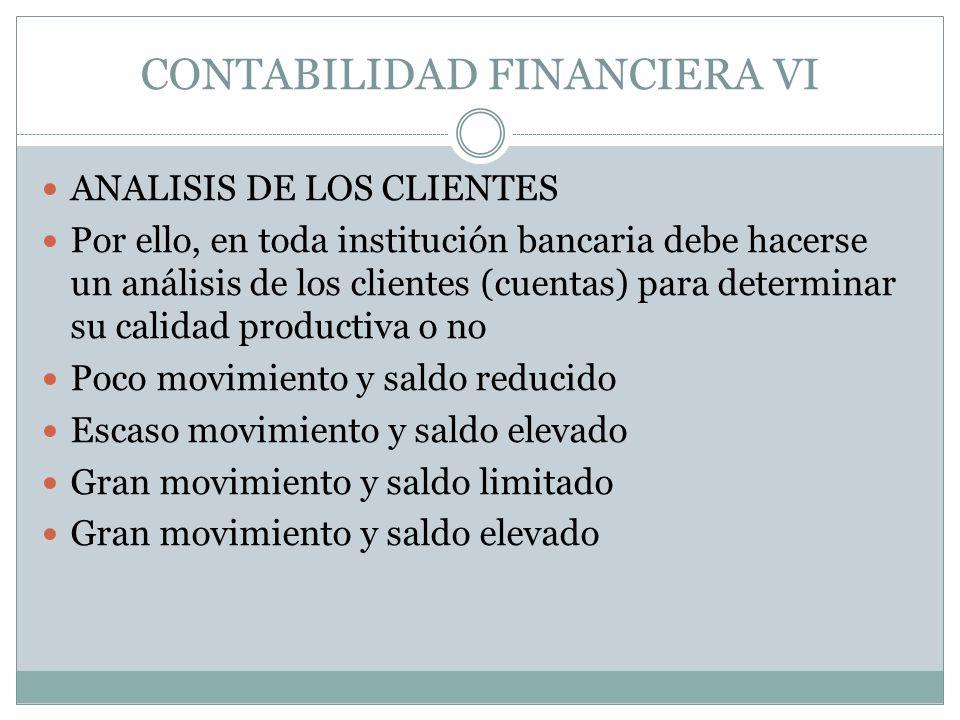 CONTABILIDAD FINANCIERA VI ANALISIS DE LOS CLIENTES Por ello, en toda institución bancaria debe hacerse un análisis de los clientes (cuentas) para det
