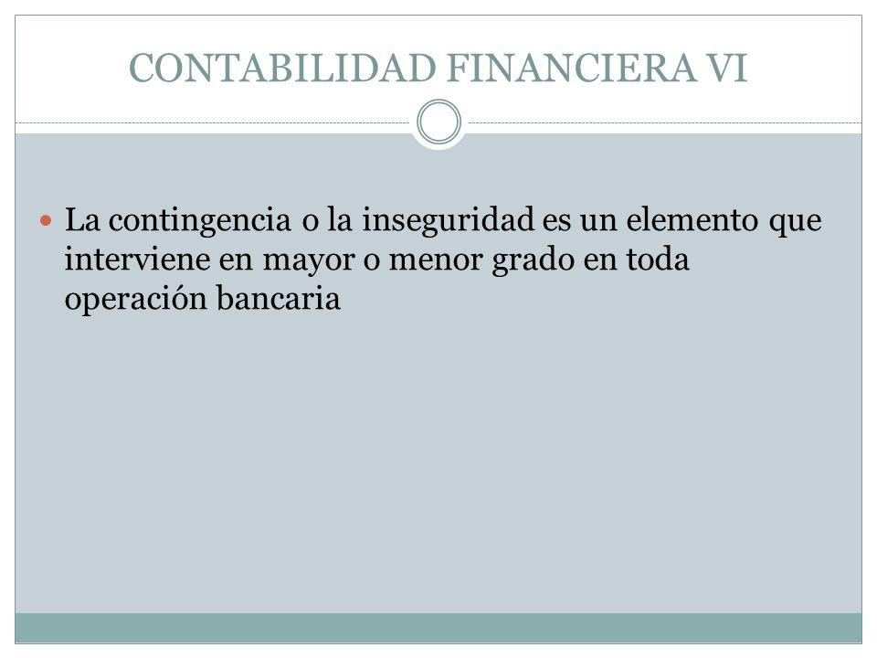 La contingencia o la inseguridad es un elemento que interviene en mayor o menor grado en toda operación bancaria