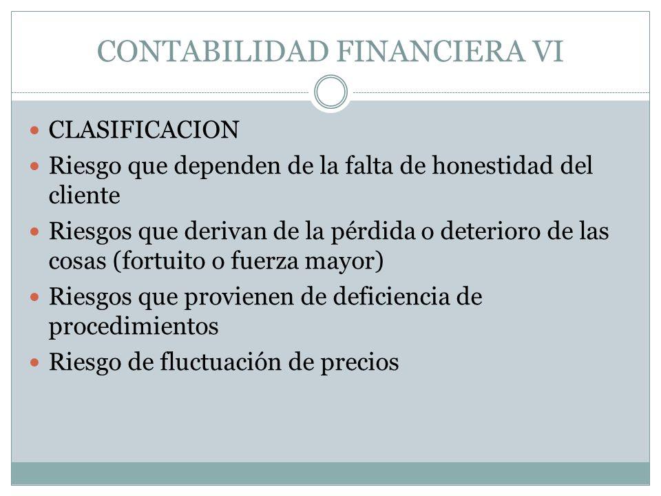 CONTABILIDAD FINANCIERA VI CLASIFICACION Riesgo que dependen de la falta de honestidad del cliente Riesgos que derivan de la pérdida o deterioro de la