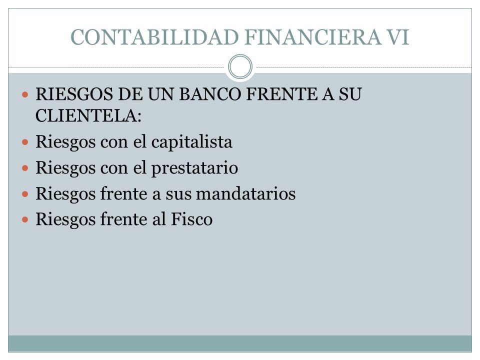 CONTABILIDAD FINANCIERA VI RIESGOS DE UN BANCO FRENTE A SU CLIENTELA: Riesgos con el capitalista Riesgos con el prestatario Riesgos frente a sus manda