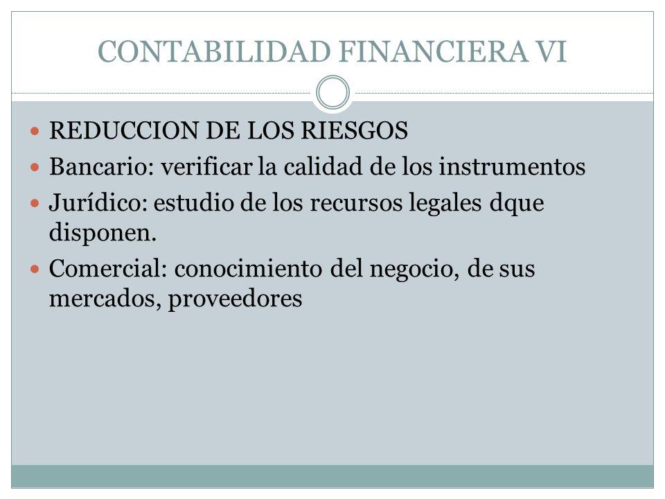CONTABILIDAD FINANCIERA VI REDUCCION DE LOS RIESGOS Bancario: verificar la calidad de los instrumentos Jurídico: estudio de los recursos legales dque