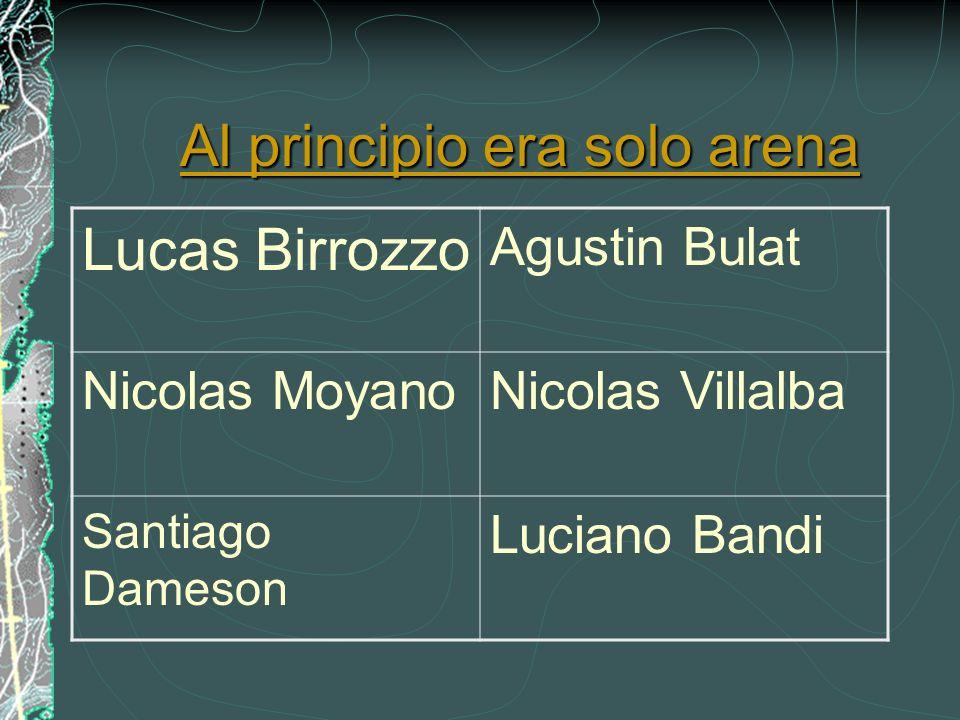 Al principio era solo arena Al principio era solo arena Lucas Birrozzo Agustin Bulat Nicolas MoyanoNicolas Villalba Santiago Dameson Luciano Bandi