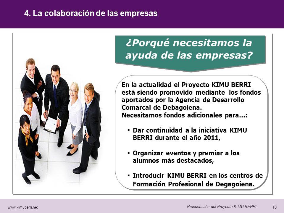 www.kimuberri.net 9 Presentación del Proyecto KIMU BERRI. 3.- ¿Quién promueve KIMU BERRI? KIMU BERRI es una iniciativa promovida bajo un modelo de coo