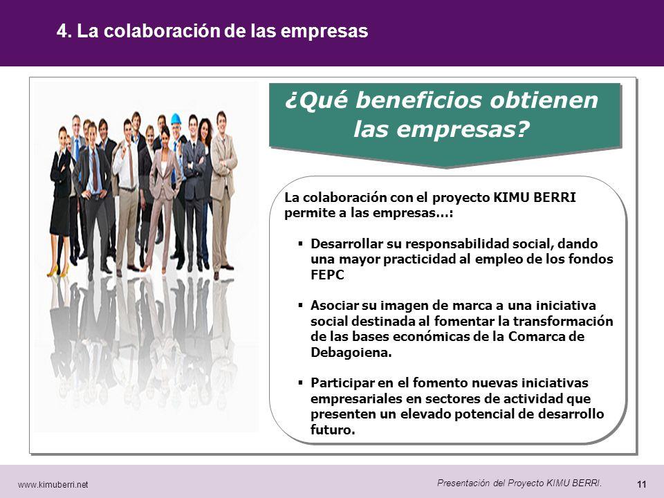 www.kimuberri.net 10 Presentación del Proyecto KIMU BERRI. 4. La colaboración de las empresas ¿Porqué necesitamos la ayuda de las empresas? En la actu