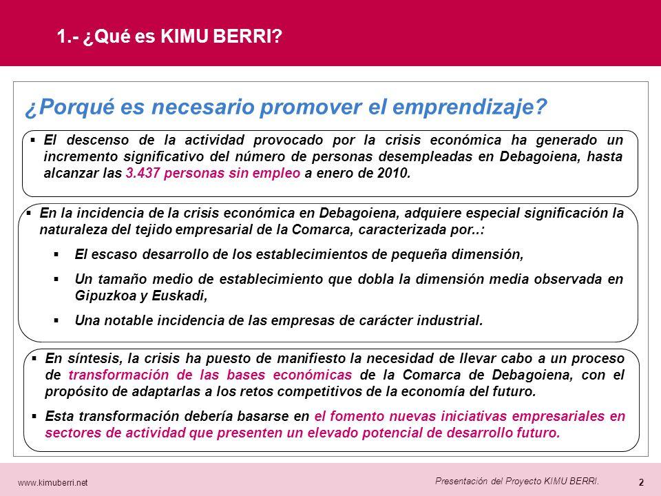 www.kimuberri.net 1 Presentación del Proyecto KIMU BERRI. 1.- ¿Qué es KIMU BERRI? KIMU BERRI es…: Un proyecto cuyo objetivo es la promoción del empren
