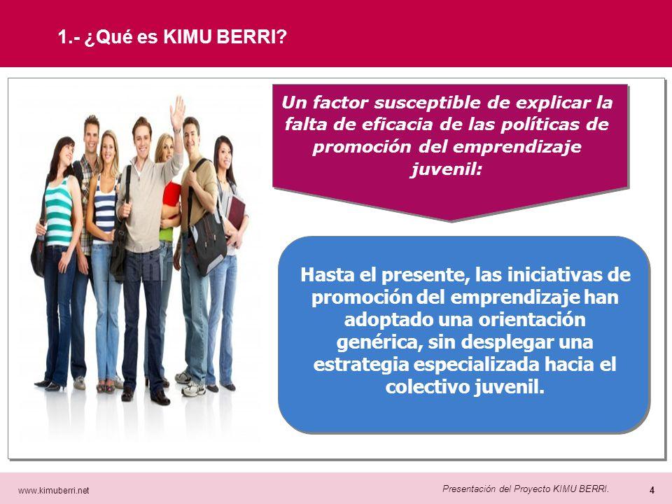 www.kimuberri.net 3 Presentación del Proyecto KIMU BERRI. Si embargo, el emprendizaje no está entre las prioridades vitales de la juventud gipuzkoana: