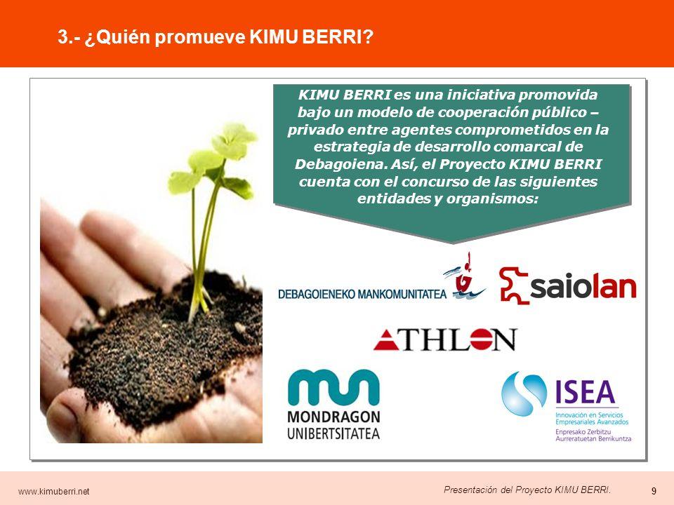 www.kimuberri.net 8 Presentación del Proyecto KIMU BERRI. AMBITOS OBJETIVOS ACTIVIDADES GESTIÓN DEL PROGRAMA Gestor del Programa Monitores y tutores p