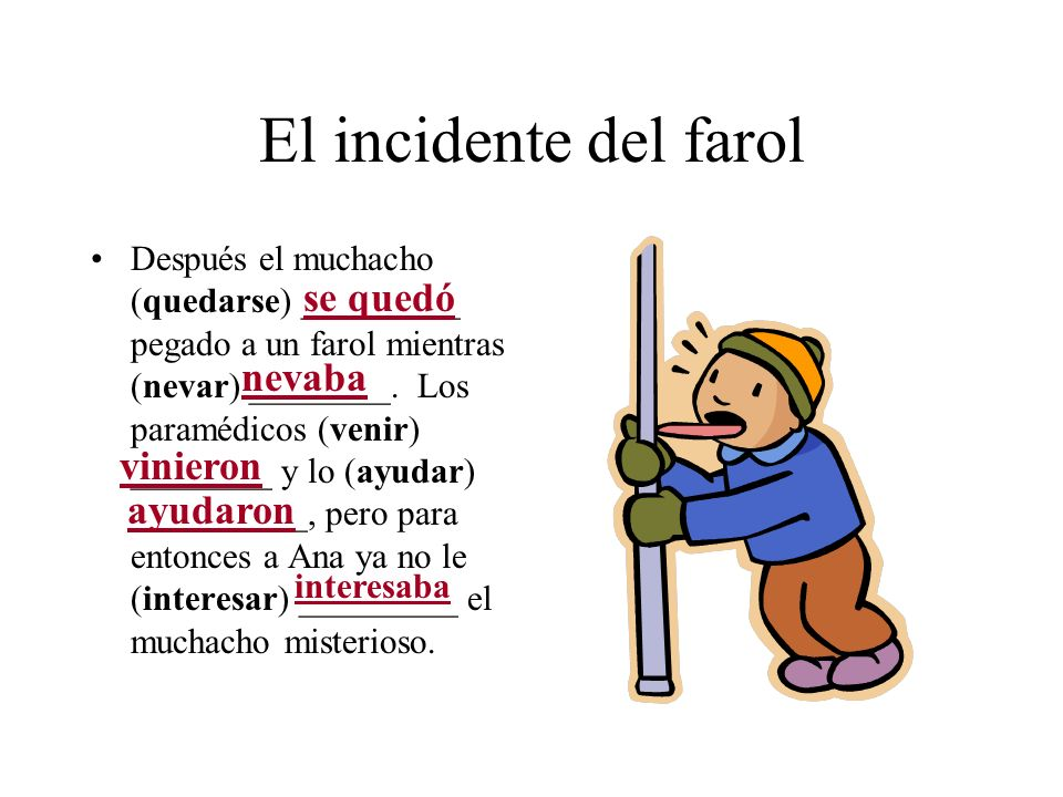 El incidente del farol Después el muchacho (quedarse) _________ pegado a un farol mientras (nevar) ________. Los paramédicos (venir) ________ y lo (ay