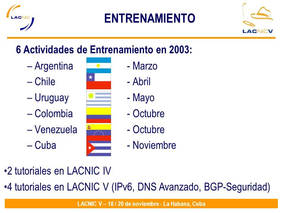 LACNIC V – 18 / 20 de noviembre - La Habana, Cuba ENTRENAMIENTO 6 Actividades de Entrenamiento en 2003: – Argentina - Marzo – Chile- Abril – Uruguay-