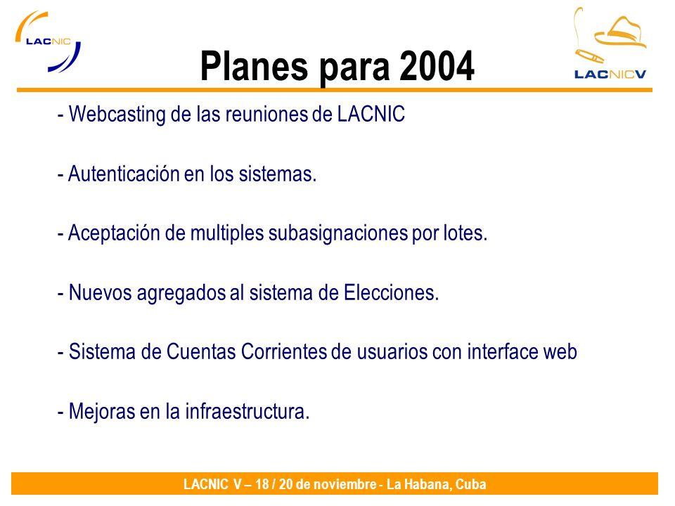 LACNIC V – 18 / 20 de noviembre - La Habana, Cuba Planes para 2004 - Webcasting de las reuniones de LACNIC - Autenticación en los sistemas. - Aceptaci