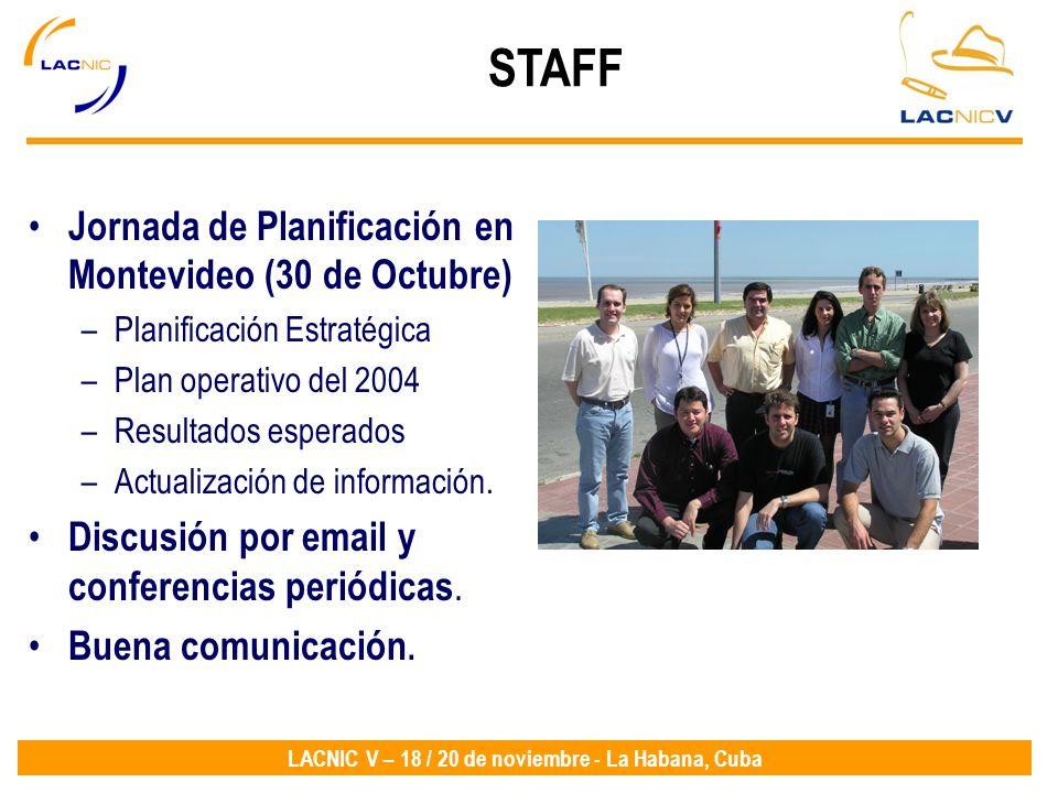 LACNIC V – 18 / 20 de noviembre - La Habana, Cuba Jornada de Planificación en Montevideo (30 de Octubre) –Planificación Estratégica –Plan operativo de