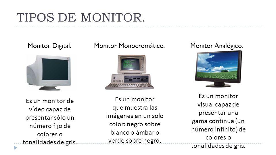 TIPOS DE MONITOR. Es un monitor visual capaz de presentar una gama continua (un número infinito) de colores o tonalidades de gris. Es un monitor de ví