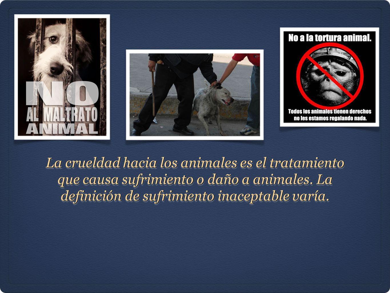 La crueldad hacia los animales es el tratamiento que causa sufrimiento o daño a animales. La definición de sufrimiento inaceptable varía.