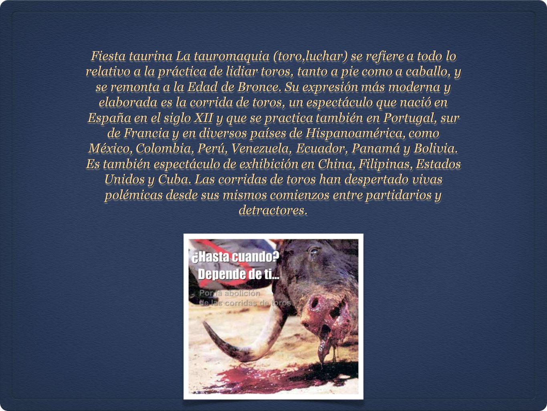 Fiesta taurina La tauromaquia (toro,luchar) se refiere a todo lo relativo a la práctica de lidiar toros, tanto a pie como a caballo, y se remonta a la