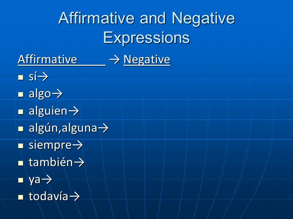 Affirmative and Negative Expressions Affirmative Negative sí sí algo algo alguien alguien algún,alguna algún,alguna siempre siempre también también ya