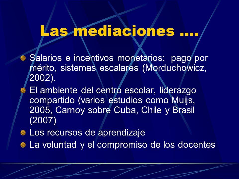 Las mediaciones …. Salarios e incentivos monetarios: pago por mérito, sistemas escalares (Morduchowicz, 2002). El ambiente del centro escolar, lideraz