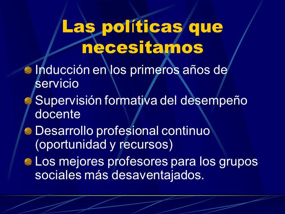 Las pol í ticas que necesitamos Inducción en los primeros años de servicio Supervisión formativa del desempeño docente Desarrollo profesional continuo