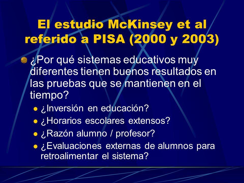 El estudio McKinsey et al referido a PISA (2000 y 2003) ¿Por qué sistemas educativos muy diferentes tienen buenos resultados en las pruebas que se mantienen en el tiempo.