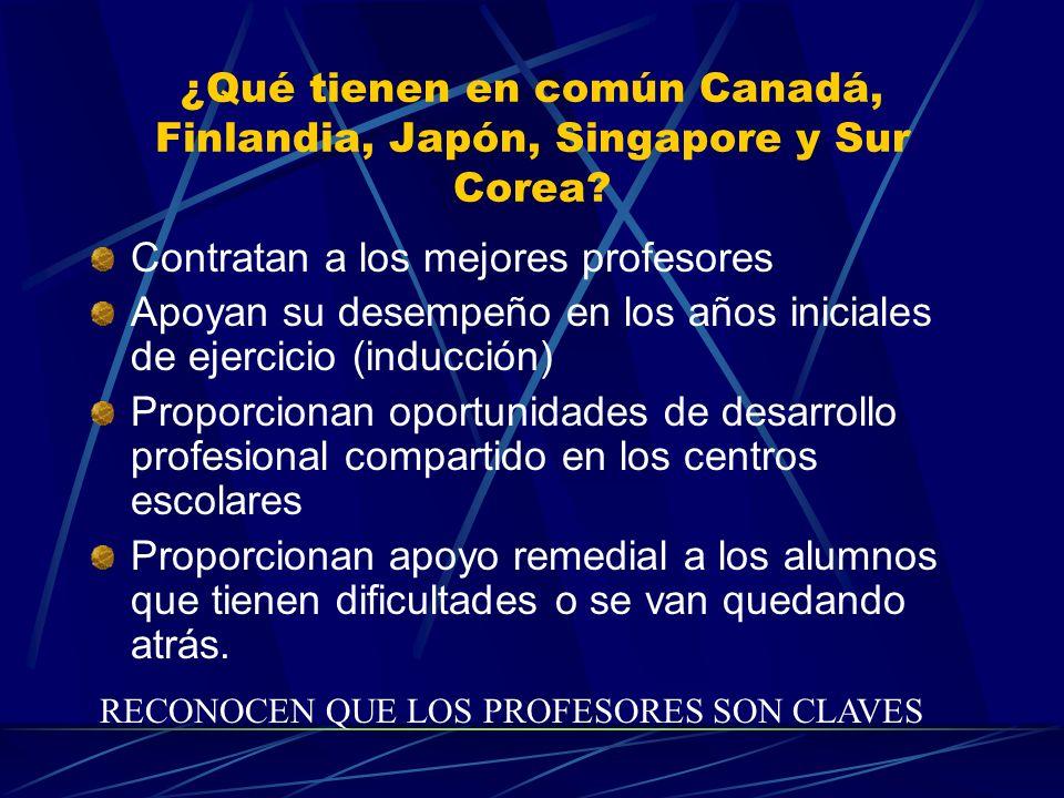 ¿Qué tienen en común Canadá, Finlandia, Japón, Singapore y Sur Corea? Contratan a los mejores profesores Apoyan su desempeño en los años iniciales de
