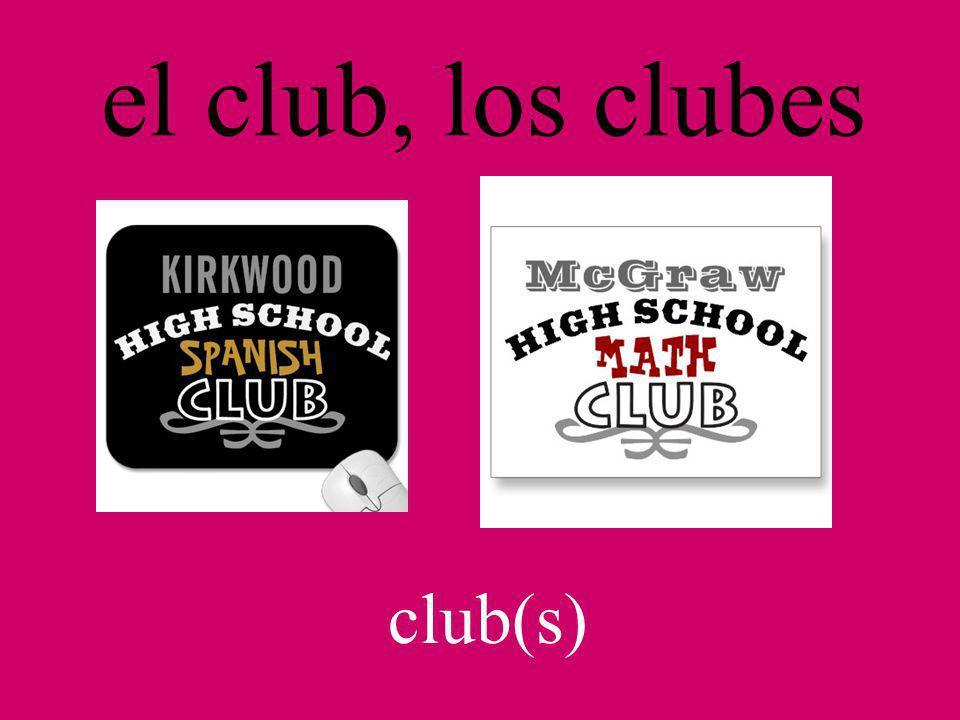 el club, los clubes club(s)