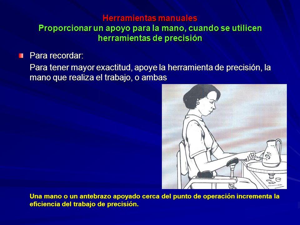 Herramientas manuales Proporcionar un apoyo para la mano, cuando se utilicen herramientas de precisión Para recordar: Para tener mayor exactitud, apoy