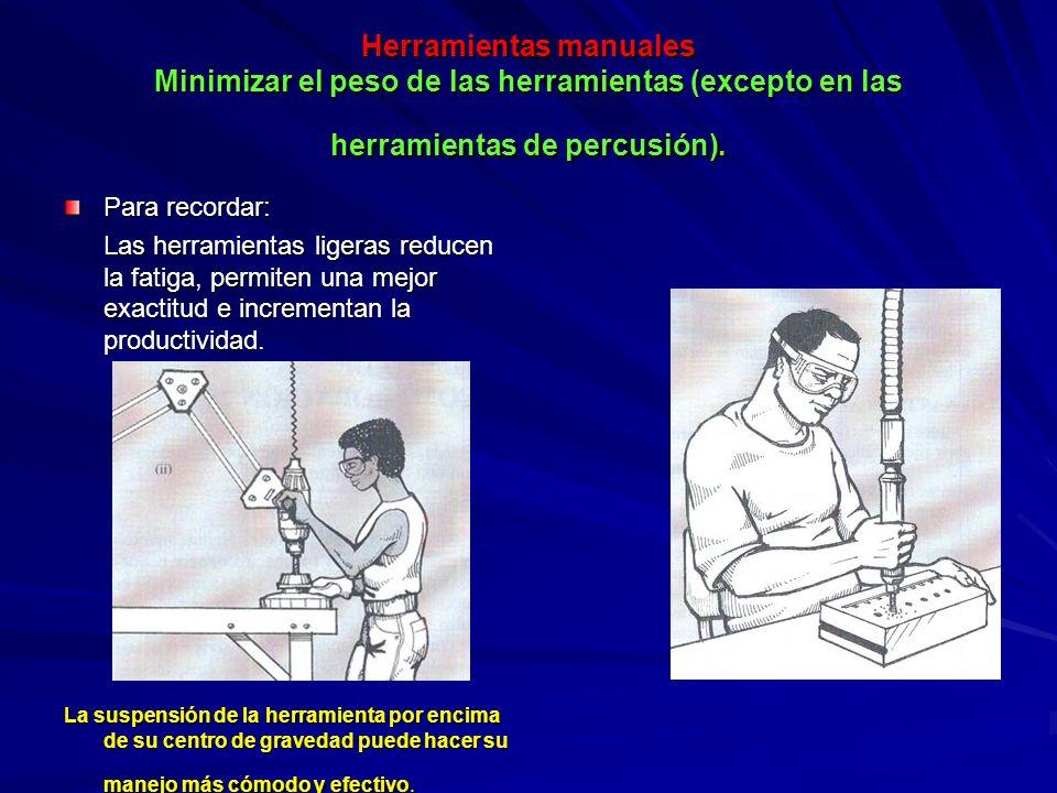 Herramientas manuales Minimizar el peso de las herramientas (excepto en las herramientas de percusión). Para recordar: Las herramientas ligeras reduce