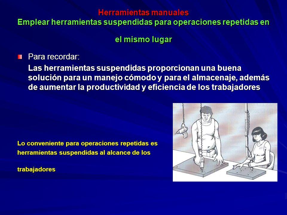 Herramientas manuales Emplear herramientas suspendidas para operaciones repetidas en el mismo lugar Para recordar: Las herramientas suspendidas propor