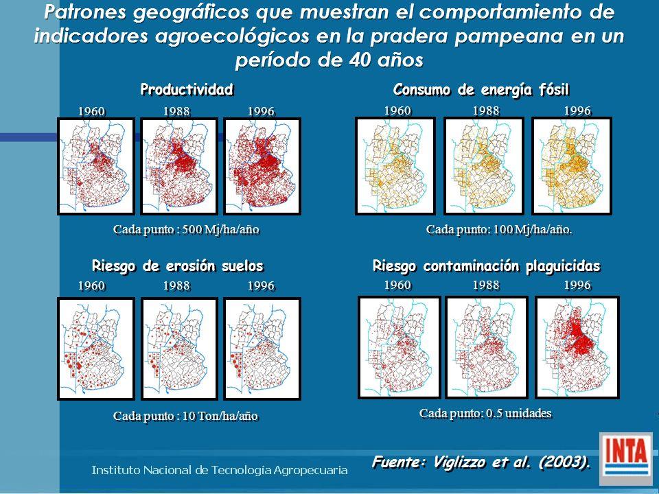 Patrones geográficos que muestran el comportamiento de indicadores agroecológicos en la pradera pampeana en un período de 40 años 1960 1988 1996 Consu