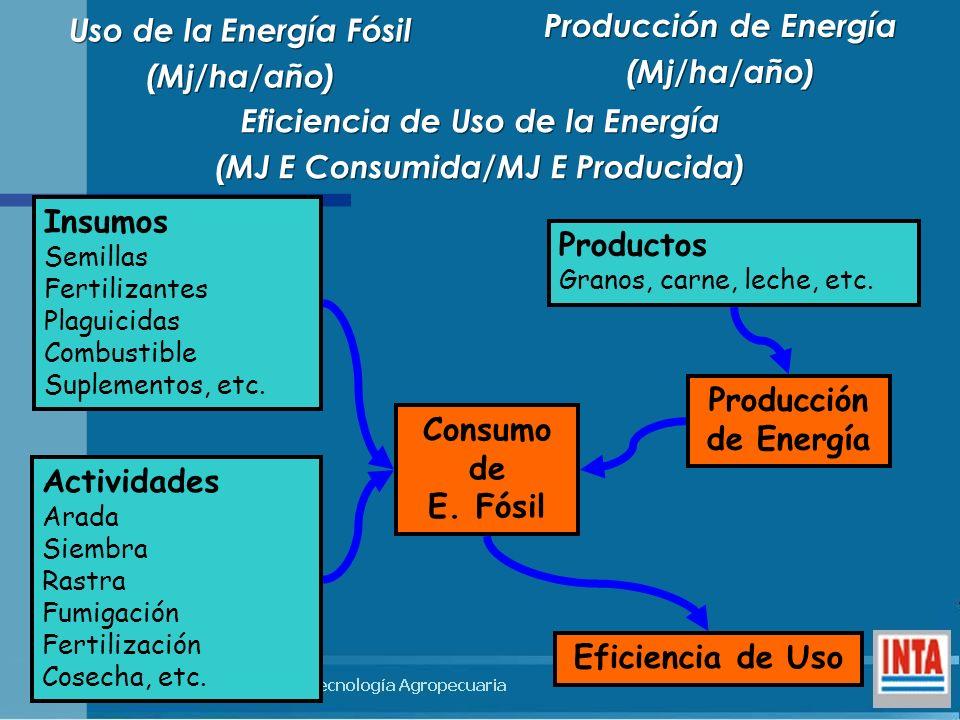Eficiencia de Uso de la Energía (MJ E Consumida/MJ E Producida) Eficiencia de Uso de la Energía (MJ E Consumida/MJ E Producida) Insumos Semillas Ferti