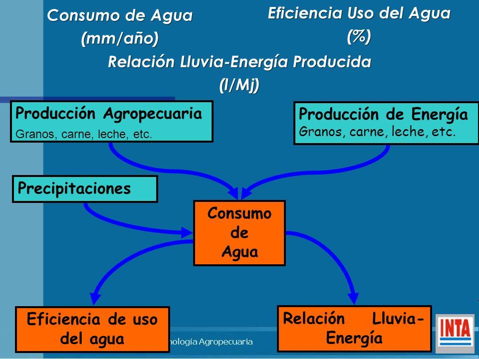 Eficiencia Uso del Agua (%) Eficiencia Uso del Agua (%) Producción Agropecuaria Granos, carne, leche, etc. Precipitaciones Producción de Energía Grano