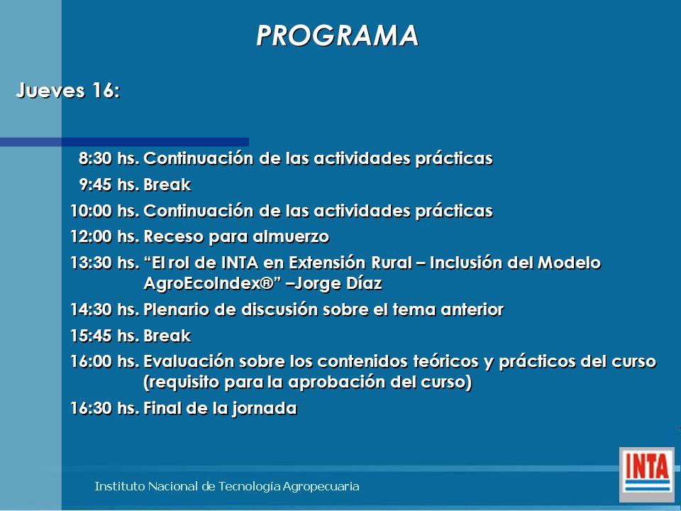 8:30 hs.Continuación de las actividades prácticas 9:45 hs.Break 10:00 hs.Continuación de las actividades prácticas 12:00 hs.Receso para almuerzo 13:30