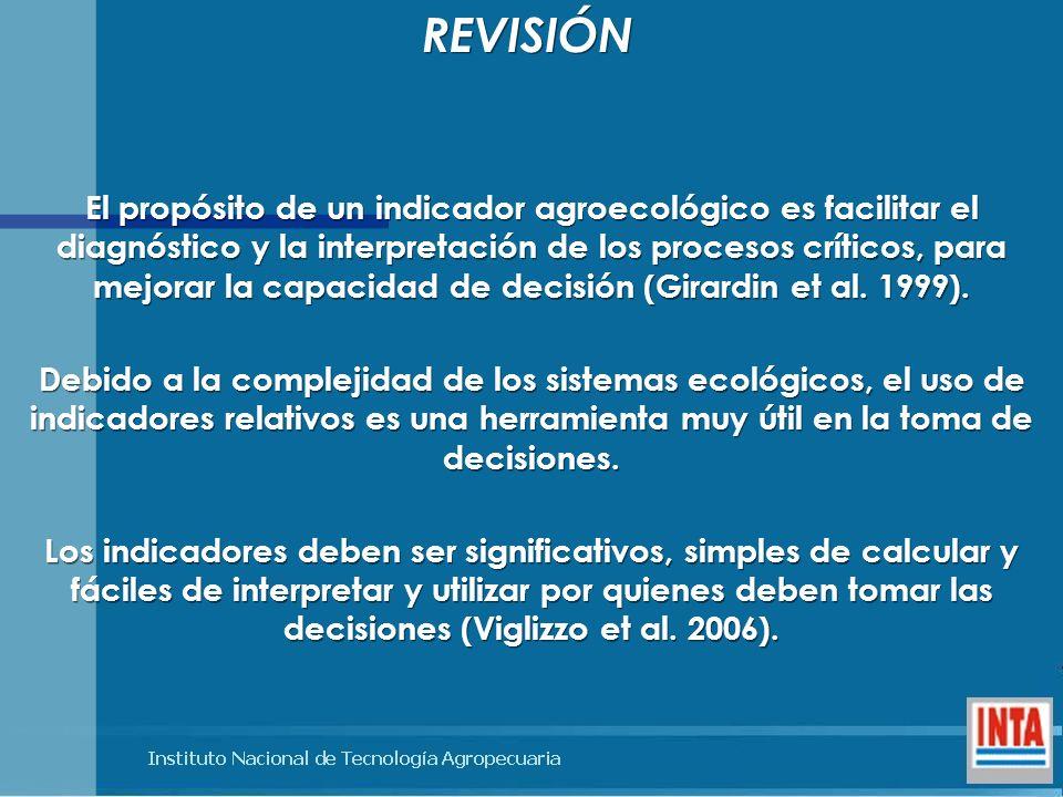 El propósito de un indicador agroecológico es facilitar el diagnóstico y la interpretación de los procesos críticos, para mejorar la capacidad de deci