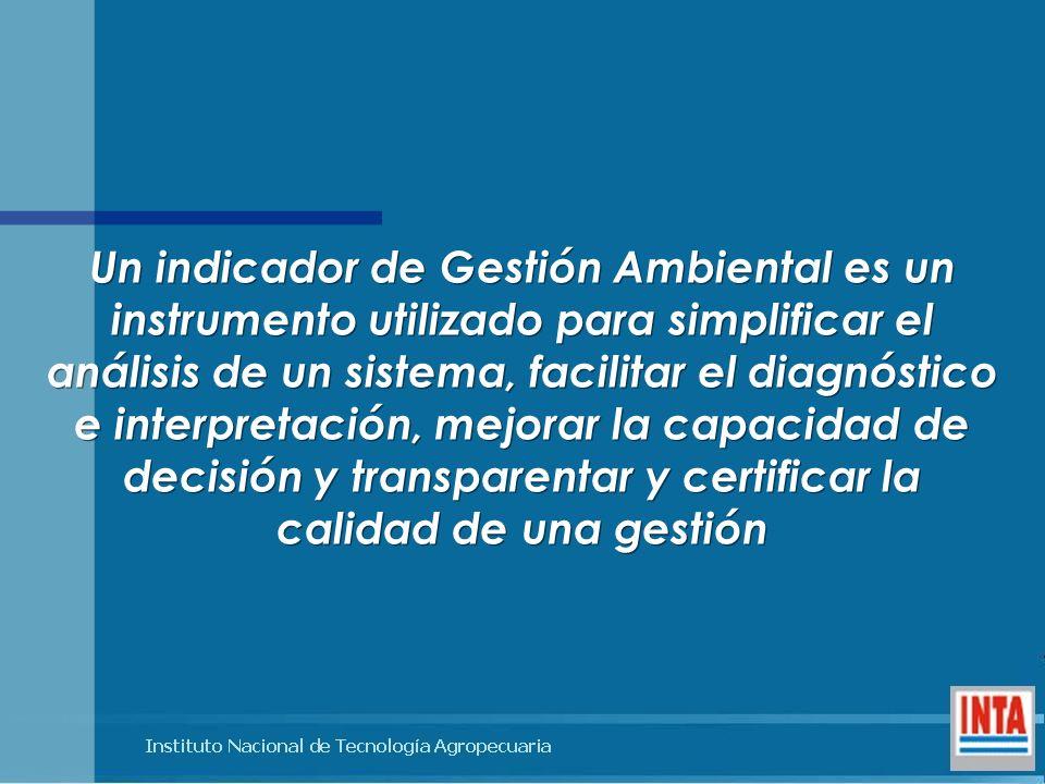 Un indicador de Gestión Ambiental es un instrumento utilizado para simplificar el análisis de un sistema, facilitar el diagnóstico e interpretación, m