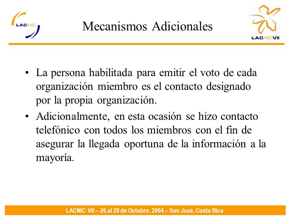 LACNIC VII – 26 al 28 de Octubre, 2004 – San José, Costa Rica Mecanismos Adicionales La persona habilitada para emitir el voto de cada organización miembro es el contacto designado por la propia organización.