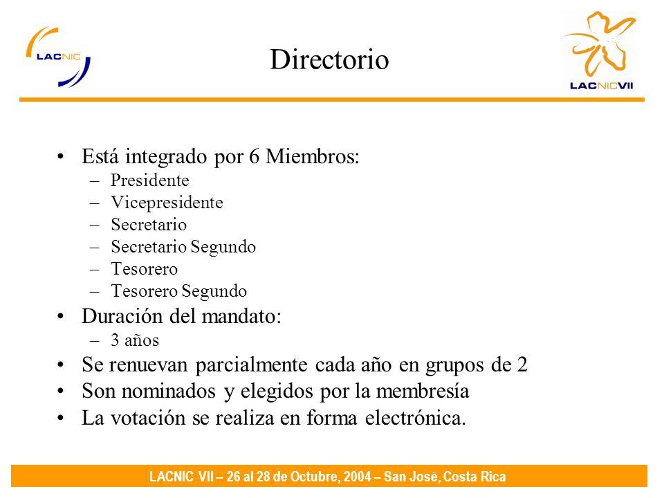 LACNIC VII – 26 al 28 de Octubre, 2004 – San José, Costa Rica Directorio Está integrado por 6 Miembros: –Presidente –Vicepresidente –Secretario –Secretario Segundo –Tesorero –Tesorero Segundo Duración del mandato: –3 años Se renuevan parcialmente cada año en grupos de 2 Son nominados y elegidos por la membresía La votación se realiza en forma electrónica.