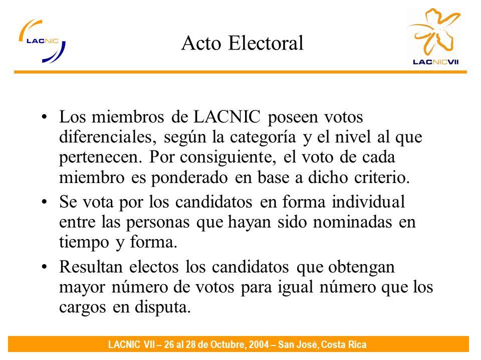 LACNIC VII – 26 al 28 de Octubre, 2004 – San José, Costa Rica Acto Electoral Los miembros de LACNIC poseen votos diferenciales, según la categoría y el nivel al que pertenecen.